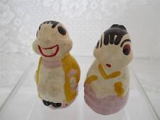 Vintage~Chalkware Bug Couple Man Lady~Salt n Pepper Shakers~Hand Painted