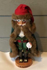 "Steinbach Volkskunst The Irish Santa Nutcracker Green Cape Brown Fur Germany 17"""