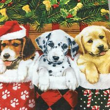 5  x   Paper party Napkins for Decoupage Christmas Puppy Dogs Napkin Art