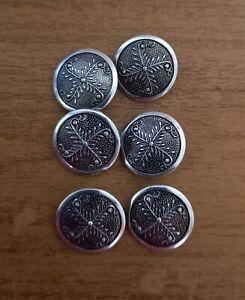#16 Silver, Metal, Leaf, Shank, Craft, Sewing, Blazer, Coat, Buttons, x6