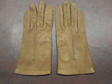 Vintage Brown Leather Gloves Size 5.5 or 6 Stitch detail Unlined Driving Winter