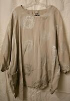 La bass Linen Silver-Grey tunic OSFA up to 3X or 4X with pocket. Lagenlook!