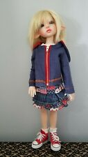 5 pc outfit blue Hoodie denim skirt Tee Shoes Socks Kaye Wiggs Msd Bjd Doll