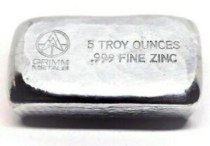 5 Troy oz Zinc Bar .999 Fine 5oz Bullion Stacker Diversify Your Metal Portfolio!