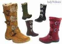 NEW Women's Winter Low Flat Heel Zipper Buckle Strap Mid-Calf Boots Size 5.5 -10