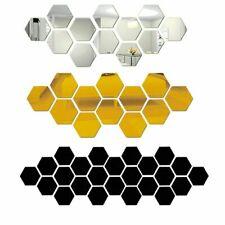 12Pcs 3D Hexagon Acrylic Mirror Wall Stickers DIY Art Wall Decor Sticker Living
