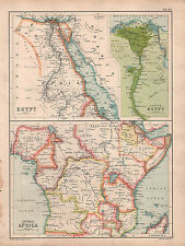 1902 MAP ~ EGYPT BAHARI DELTA ~ CENTRAL AFRICA CONGO STATE ABYSSINIA