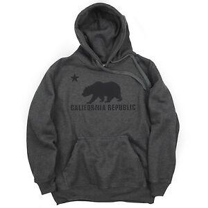 California Bear Pullover Hoodie Charcoal Cali Republic Sweatshirt Hoody BABA