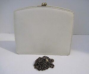 Rare Coach Madison Cream Pebbled Leather Clutch Kisslock Bag M5E-4415 Italy