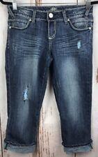 Almost Famous Womens Juniors Sz 7 Jean Cropped Capri Pants Distressed Dark Wash