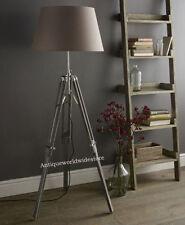 Vintage Wooden Tripod FLOOR LAMP LIGHT Nautical Grey Tripod Old Style Floor Lamp