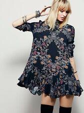 Free People Smooth Talker Floral Print Boho Tunic Dress Raven Black M Rare NWT
