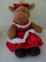 """BUILD A BEAR MOOSE HOLLY PLUSH STUFFED ANIMAL/TOY-18"""" IN RED HOLIDAY DRESS-LKN"""