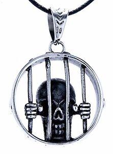 Jailbird pendant Stainless Steel Prisoner Fence Skull No. 133
