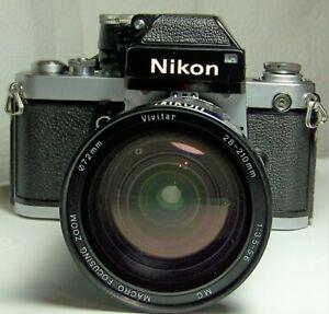 NIKON F2 SLR CAMERA WITH VIVITAR ZOOM 28-210MM F=3.5