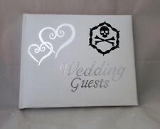 Wedding Party Ceremony Hearts Biker Gothic Goth Guest Book Black Skull & Bones