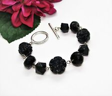 Fun! Silvertone Black Faceted & Molded Acrylic Rose Beads Toggle Bracelet!