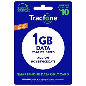 TracFone 1GB Data Refill Add On for Smart Phone. No minutes / Texts. Direct Load