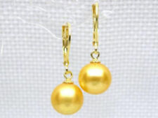 AAA+++ 7.5mm perfect round golden yellow south sea pearl dangle earring 14K gold