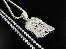 Sterling Silver Jesus Piece Genuine Diamond Pendant & Chain In White Gold Finish