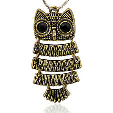 Big Antique Bronze Gold Owl Pendant Charm with Moving Feathers Plated Pewter