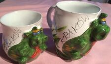 Smok Wawelski Hand Made &Painted Pottery Kraków Poland Set Of 2 Mugs Coffee Cup*