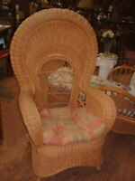 "Vintage Honey Wicker Peacock Chair with Cushion 52""X31""X31"""