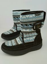 Skechers Women Sz 6 Tone Ups Brown Suede Chalet Sweater Blissful Knit Snow Boots
