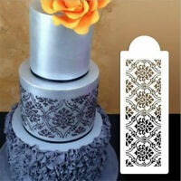2PCS Baking Tool Decor Mould Damask Lace Flower Border Fondant Cake Stencil g