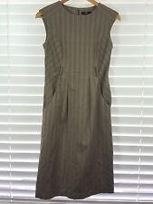 CUE sz 8 womens Brown Striped Career Dress [#2651]