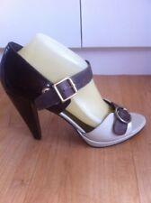 Ladies Brown & Cream NINE WEST Heels AUS  Size 9.5  EU 40.5 High Patent Straps