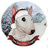 Holiday Pet Gifts Mini Bull Terrier White Dog Santa Hat Porcelain Ornament