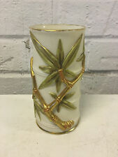 Antique 1890 Royal Worcester Bamboo Form Bud Vase w/ Gold Decoration
