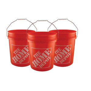 5-Gallon Bucket Home Depot Homer Plastic Utility Orange Pail Heavy Duty (3-PACK)