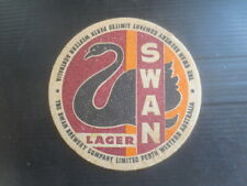 """1 only SWAN Brewery ,Swan Lager """" 95mm Dia """" 1958  Issue  BEER Coaster"""
