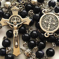BLUE JADE PRAYER BEADS & SILVER ROSE BEADS ROSARY ITALY CROSS Catholic necklace