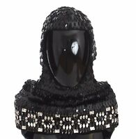 0b69731c602 NEW  2100 DOLCE   GABBANA Hood Scarf Hat Crystal Sequined Black Knitted Wool