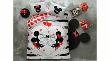Minnie Mickey Mouse Bedding 100% Cotton Duvet Cover Set Full/Queen Size 4 Pcs
