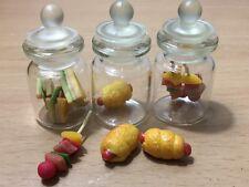 3 PC Miniature Sandwich BBQ Food Hot Dog Dollhouse Glass Mini Bottle fruit mix