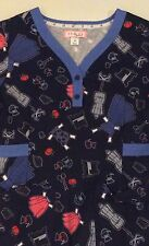 KOI by Kathy Peterson Navy Sewing Theme Women's Medical Scrub SMALL