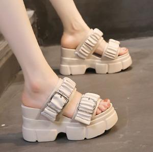 Womens Platform Sandals Wedge Heels Slippers Summer Buckle Open Toe Beach Shoes