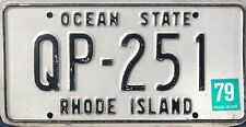 "Vtg. Rhode Island Ocean State 1979 State License Plate ""QP-251"" (Quonset Point)"