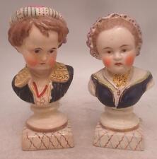 Staffordshire pottery figurines-paire de chelsea bustes-garçon & fille