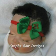 Green w/ Red Monogram Dainty Hair Bow Headband Personalized Preemie to Toddler