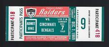 1969 AFL NFL CINCINNATI BENGALS @ OAKLAND RAIDERS FULL UNUSED FOOTBALL TICKET