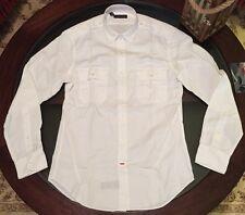 Ralph Lauren Black Label Mens Military Shirt White Size Medium Custom Fit New !!