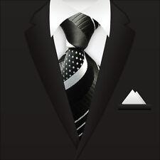Classic Striped WOVEN JACQUARD Silk Men's Suits Tie Necktie Point BLK M099