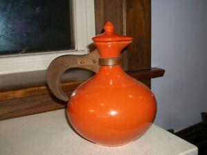 """Bauer """"565"""" Coffee Water Carafe Pitcher Jug Ewer Orange Excellent Condition"""