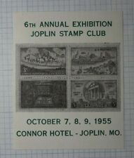 Exhibition Joplin Stamp Club 1955 Connor Hotel Philatelic Souvenir Ad Label