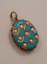 Beautiful Antique Victorian 15ct Gold, Turquoise Enamel & Seed Pearl Oval Locket
